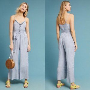 Anthropologie Maeve Blue Maritime Pommed Jumpsuit